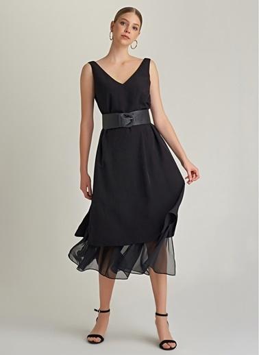 NGSTYLE V Yaka  Maxi Elbise Siyah